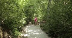 Tourist walking along landscaped park of Vorontsov Palace - stock footage