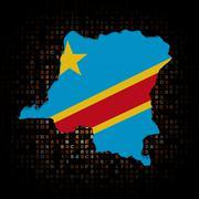 Democratic Republic Congo map flag on hex code illustration - stock illustration