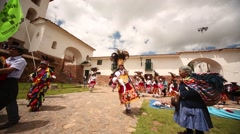 PERU: Traditional procession in Chincheros near Cuzco Stock Footage