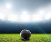 Shotput Ball In Generic Floodlit Stadium Stock Illustration