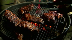 Caramelise spare ribs glaze on grill barbecue  Stock Footage