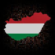 Hungary map flag on hex code illustration - stock illustration