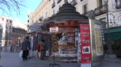 4K Local souvenirs seller boutique Madrid downtown tourism attraction emblem day Stock Footage