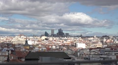4K Zoom in Madrid city panorama traditional building modern skyscraper icon day Stock Footage