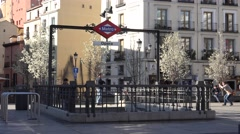 4K People use entrance exit metro station Madrid public transportation urban day Stock Footage