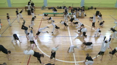 Competition in capoeira among children and adolescents. Stock Footage