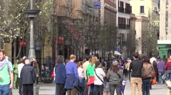 4K Tourist people enjoy old town architecture Madrid tourism attraction emblem  Stock Footage