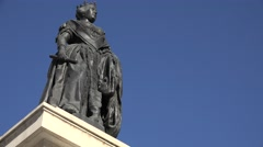 4K Isabel bronze statue public square Madrid tourism attraction day iconic place Stock Footage