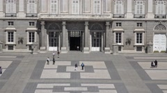 4K Aerial view Royal Palace interior yard Madrid tourism attraction heritage day Stock Footage