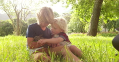 Brothers holding and feeding a cute bunny at park - stock footage