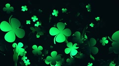 Clover in green on black Stock Footage