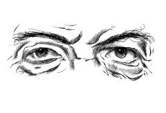 Hand drawing old man's eyes with glasses on a white background - stock illustration