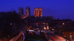 Time lapse york minster and city skyline at twilight united kingdom Stock Footage