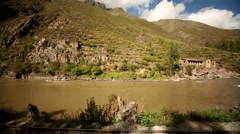 Train from Cusco to the Inca City Machu Picchu in a nice landscape Stock Footage