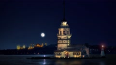 Maiden's Tower in Istanbul with Hagia Sophia and The Blue Mosque on background Stock Footage