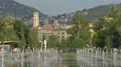 Walking at La promenade du Paillon on a sunny day in Nice Stock Footage