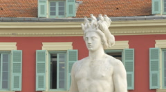 Close up of the Apollo statue at the Fountain of the Sun in Place Masséna, Nice - stock footage