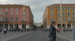 Walking near Gallery Lafayette in Place Masséna, a place of downtown Nice Stock Footage