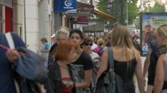 People walking on a sidewalk in Nice Stock Footage