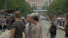 People waiting for the tram on Avenue Jean Médecin in Nice Stock Footage