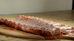 spare ribs marinade painting raw meat preparing - stock footage