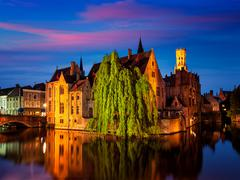 Famous view of Bruges, Belgium - stock photo