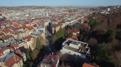 Drone shot of residential buildings, Stuttgart, Baden-Wuerttemberg, Germany Stock Footage