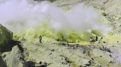 Extraction of sulfur,Ijen volcano Stock Footage