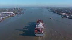 Container ship shot from helicopter .mp4 Stock Footage