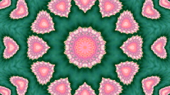 Lovely circle kaleidoscopic pattern with abstract pink hearts Stock Footage