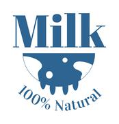 Milk cow logo badge vector template, some nature drinks label with sample text - stock illustration