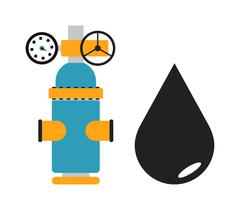 Oil black drop vector illustration and some gas industry equipment isolated on - stock illustration