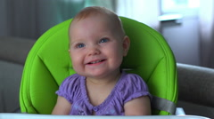 Stock Video Footage of Smiling baby face. Baby girl smiling
