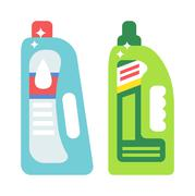 Plastic bottles of cleaning products household chemistry flat vector - stock illustration