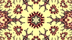 Pastel floral kaleidoscopic pattern with abstract hearts on yellow background - stock footage