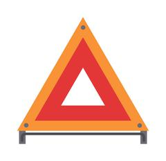Stock Illustration of Red warning triangle emergency road sign flat vector illustration icon