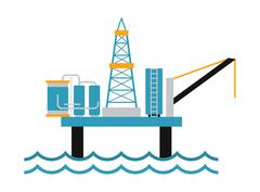 Sea oil rig offshore platform technology flat vector illustration Stock Illustration