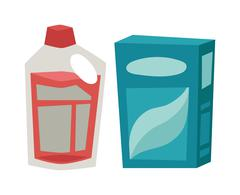 Plastic detergent container and paper box flat vector illustration on white Stock Illustration