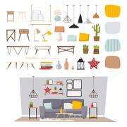 Furniture interior and home decor concept icon set flat vector illustration Stock Illustration