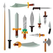 Weapon collection swords, knifes, axe, spear with gold handles cartoon vector - stock illustration