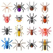 Set of flat spiders cartoon colored icons vector illustration isolated on white - stock illustration