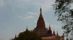 Ananda temple of Bagan in Myanmar clouds motion time lapse Stock Footage
