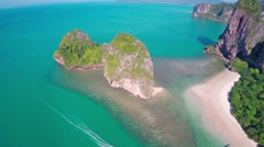 Aerial view on tropical beach and rocks 4k Stock Footage