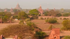 Dolly panoramic shot of old Bagan Pagodas in Myanmar Stock Footage