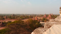 Bagan Pagodas daytime panoramic dolly shot observation Stock Footage