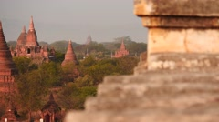 Bagan ancient city of Myanmar dolly shot top view - stock footage