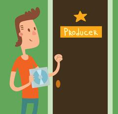 Young Musician boy with music CD knocking door producer vector illustration - stock illustration