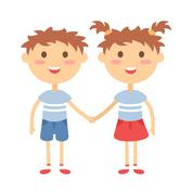 Twins happy kids holding hands boy and girl vector illustration Stock Illustration
