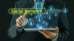 Business man pointing on social network media concept tablet pad - stock footage