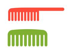 Two red and green comb icon barbershop flat vector illustration - stock illustration